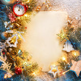 Christmas letter with decorated fir tree on snow Stock Image