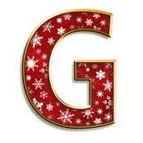 Christmas letter G in red Royalty Free Stock Photo