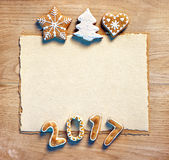 Christmas letter with gingerbread cookies, 2017. Close up, top view. Merry Christmas and Happy New Year Royalty Free Stock Photos