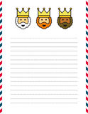 Christmas letter. Magi letterhead on lined page with red and blue border for Christmas letter Royalty Free Stock Photo