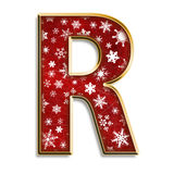 Christmas letter R in red. 3d capital R in red with white snowflakes & gold border isolated on white Stock Photography