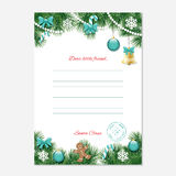 Christmas letter from Santa Claus template. A4. Stock Photos