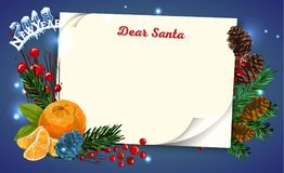 Christmas letter from Santa Claus template. Stock Photos
