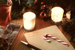 Christmas letter with spices Stock Photography