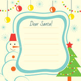 Christmas letter template to Santa Claus for print Stock Photo