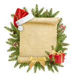 Christmas letter to Santa. With christmas hat and gift on white background Stock Photo