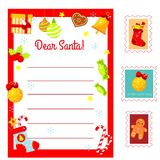 Christmas Letter to Santa Claus. Decorated Letter blank and postal stamps. New Year Holidays kit for children, kids, seasonal stock illustration