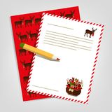 Christmas letter to Santa Claus. Vector Stock Image