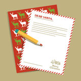 Christmas letter to Santa Claus. Vector illustration. Royalty Free Stock Photography