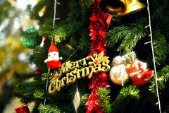 Christmas letter on Christmas tree.  Stock Image