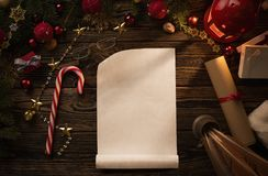 Christmas letter on wooden table Royalty Free Stock Image