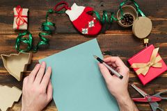 Christmas letter writing Royalty Free Stock Photos