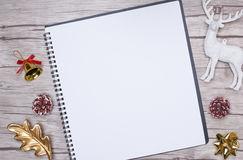 Christmas letter writing on white paper with decorations. Royalty Free Stock Images