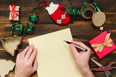Christmas letter writing Stock Image