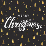 Christmas  lettering on black  background with  golden spruces. Christmas  greeting  card. Hand lettering on black  background with  golden spruces. Gold Xmas Stock Photos
