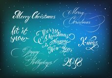 Christmas lettering 2018, blue background, snowflakes. Congratulatory inscriptions in white ink. Vector illustration with graceful fonts Royalty Free Stock Photography