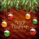Christmas Lettering on Brick Wall Background with Balls and Snow stock illustration