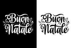 Christmas Lettering. Buon Natale. Christmas Template. Greeting card. Winter holiday in Italy. Congratulation on Italian. Vintage style Stock Photos