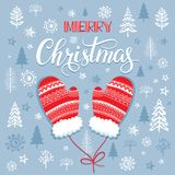 Christmas lettering and calligraphy design. Handwritten phrase with Xmas illustration. Winter mittens. The pattern with the image of fir-trees, trees, bushes Royalty Free Stock Image