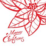 Christmas lettering calligraphy on greeting card template to Xmas eve holidays with red hand drawn poinsettia. Christmas lettering calligraphy on greeting card Stock Photos