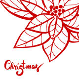 Christmas lettering calligraphy on greeting card template to Xmas eve holidays with red hand drawn poinsettia. Christmas lettering calligraphy on greeting card Royalty Free Stock Photos