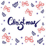 Christmas lettering calligraphy on greeting card template to Xmas holidays. Christmas lettering calligraphy on greeting card template to Xmas eve holidays Stock Photography