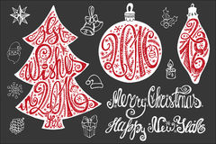 Christmas lettering,card elements set.2016 New. Christmas card elements set. Hand drawn lettering best wishes, 2016 in shapes of ball and fir tree,handwriting Stock Photo