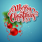 Christmas lettering card with holly and  fir-tree Royalty Free Stock Images