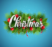 Christmas lettering card with holly and  fir-tree Stock Image