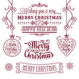 Christmas Lettering Design Set. Royalty Free Stock Photography