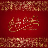 Christmas lettering with golden elements on red background Royalty Free Stock Images