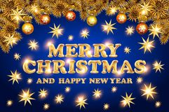 Christmas lettering with golden stars. Merry christmas and Happy New Year gold star. blue Background With Typography card tree. Ve Royalty Free Stock Photos