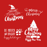 Christmas lettering holiday season red quote set. Merry Christmas text quote collection, calligraphy lettering design for holiday season. Festive red typography Stock Photo