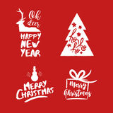 Christmas lettering holiday season red quote set. Merry Christmas text quote collection, calligraphy lettering design for holiday season. Festive red typography Stock Photography