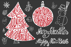 Christmas lettering,New year card elements set. Christmas card elements set. Hand drawn lettering quotes  in shapes of ball and fir tree,handwriting title Stock Photos