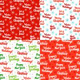 Christmas Lettering Seamless Patterns. Vector Illustration of Holiday Background. Happy New Year Royalty Free Stock Photography