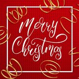 Christmas. Christmas lettering text on knitted sweater background. Realistic golden confetti and holiday calligraphy.  Stock Images