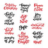 Christmas lettering vector set. Isolated handwriting calligraphy. Xmas  and new year quotes and inscriptions. Modern winter design elements for holiday greeting Royalty Free Stock Photography