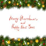 Christmas lettering on white background with fir tree branches a. Text Merry Christmas and Happy New Year on white background with holiday decorations Stock Photos