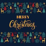 Christmas lettering with Xmas illustration. Christmas lettering and calligraphy design. Christmas lettering and calligraphy design. The pattern with the image of Stock Images