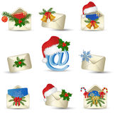Christmas letters icon set. Christmas  envelope mail icon set   on white. Vector illustration Stock Images