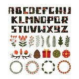 Christmas letters and new year decorations. Vector illustration Stock Photography