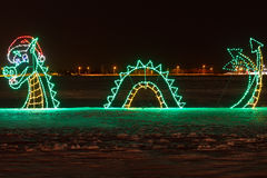 Christmas Light. Dragon decorated with Christmas Light in Wonderland Stock Photography