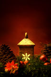 Christmas light. With pine cones and branches decorations Royalty Free Stock Image