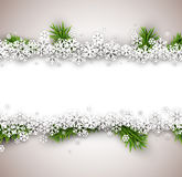 Christmas light abstract background. Light winter abstract background. Christmas illustration with snow and fir branches. Vector Stock Image