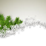 Christmas light abstract background. Light winter abstract background. Christmas illustration with snow and fir branches. Vector Royalty Free Stock Photo
