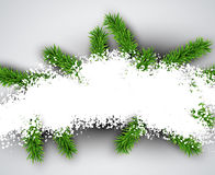 Christmas light abstract background. Light winter abstract background. Christmas illustration with snow and fir branches. Vector Stock Photos