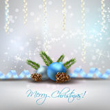 Christmas light background with blue decorations. Christmas shiny background with decoration, blue baubles and fir-cones stock illustration