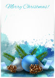 Christmas light background with blue decorations. Christmas shiny blue splash background with decoration, blue baubles and fir-cones Royalty Free Stock Photos