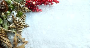 Christmas Light background. Xmas tree with snow decorated with g royalty free stock photography